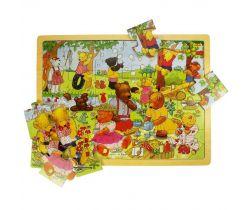 Dřevěné puzzle Bigjigs Toys Medvědí piknik 24 dílků