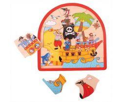 Dřevěné vícevrstvé puzzle Bigjigs Toys Pirátská loď