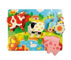 Dřevěné vkládací puzzle Bigjigs Toys Farma