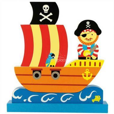 Magnetické puzzle Bigjigs Toys Pirátská loď