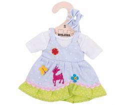 Puntikované šaty s jelenem pro panenku 28 cm Bigjigs Toys Modré