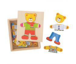 Oblékací puzzle Bigjigs Toys Pan medvěd