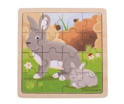 Puzzle Bigjigs Toys Králík s králíčkem 16 dílků