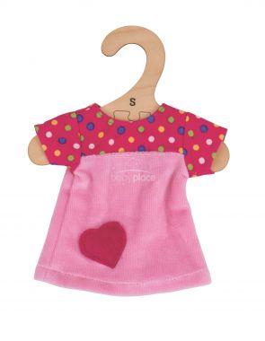 Tričko se srdíčkem pro panenku 28 cm Bigjigs Toys Růžové