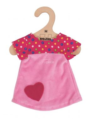Tričko se srdíčkem pro panenku 34 cm Bigjigs Toys Růžové
