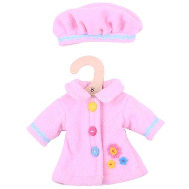 Kabátek s čepičkou pro panenku 28 cm Bigjigs Toys Růžový