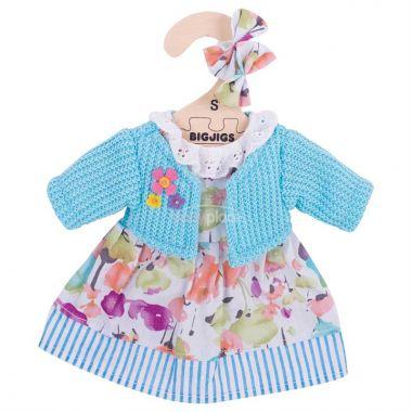 Šaty se svetrem pro panenku 28 cm Bigjigs Toys Tyrkysové
