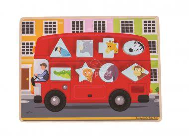 Vkládací puzzle Bigjigs Toys Autobus se zvířátky