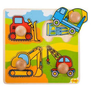 Vkládací puzzle Bigjigs Toys Stavební stroje