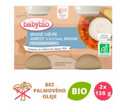 Brassé z kozího mléka + meruňka + banán 2x130 g Babybio