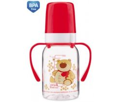 Canpol Animals láhev s potiskem 120 ml s úchyty bez BPA