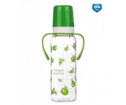 Canpol láhev s jednobarevným potiskem plastová 250 ml s úchyty