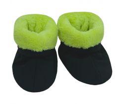Capáčky softshell s kožíškem Esito Černá/Zelená