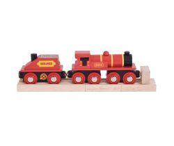 Červená lokomotiva s tendrem + 3 koleje Bigjigs Rail