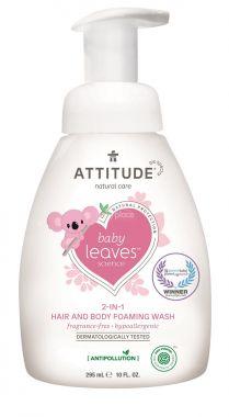 Dětská mycí pěna (2 v 1) Attitude Baby leaves bez vůně 295 ml