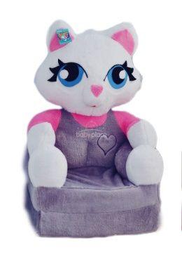 Dětské plyšové křesílko Smyk 2v1 Cat Grey