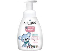 Dětské tělové mýdlo, šampon a kondicionér (3v1) bez vůně s pumpičkou 300 ml Attitude