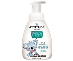 Dětské tělové mýdlo, šampon a kondicionér (3v1) s vůni hruškové šťávy s pumpičkou 300 ml Attitude
