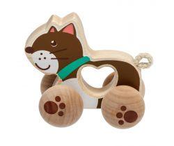 Dřevěná hračka Lucy&Leo Cat on Wheels