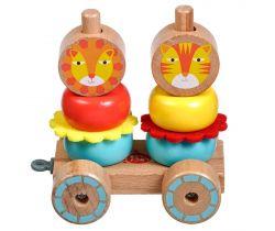 Dřevěná hračka Lucy&Leo Lion Family Stacker Trolley
