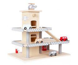 Dřevěná parkovací garáž s výtahem a příslušenstvím Eco Toys