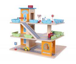 Dřevěná patrová garáž s výtahem a autíčky EcoToys