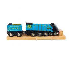 Dřevěná replika lokomotivy + 3 koleje Bigjigs Rail Mallard