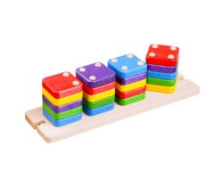 Dřevěná skládací pyramida Lupo Toys Domino