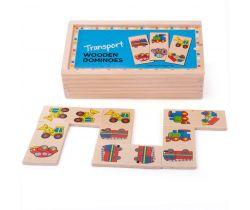 Dřevěné domino Bigjigs Toys Dopravní prostředky