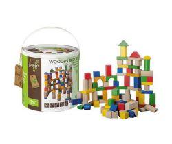 Dřevěné kostky v kyblíku 100ks 12m+ Jouéco