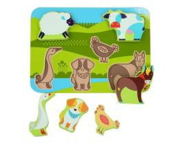 Dřevěné puzzle Lucy&Leo Farm Animals