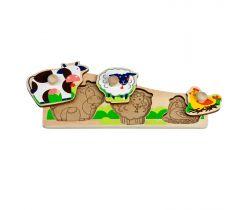 Dřevěné puzzle Lucy&Leo Friends Animals on a farm