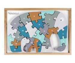 Dřevěné puzzle s čísly Kindsgut Slon
