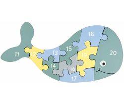 Dřevěné puzzle s čísly Kindsgut Velryba