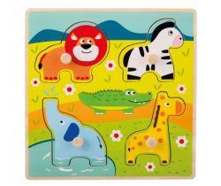 Dřevěné puzzle s úchyty 12m+ Jouéco Zvířátka v ZOO