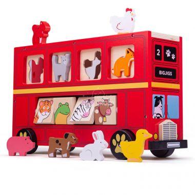 Dřevěný autobus se zvířátky Bigjigs Toys