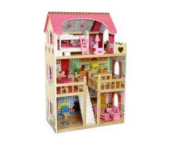 Dřevěný dvoupatrový domeček pro panenky EcoToys Raspberry