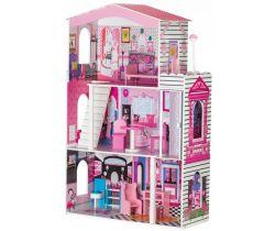 Dřevěný dvoupatrový domeček pro panenky s výtahem EcoToys Miami
