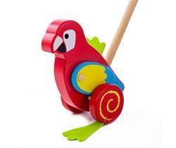 Dřevěný jezdík Bigjigs Baby Papoušek