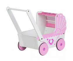 Dřevěný kočárek pro panenky EcoToys Pink Heart