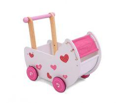 Dřevěný kočárek pro panenky EcoToys Red Heart
