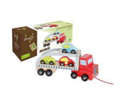 Dřevěný transportér se 3 autíčky 18m+ Jouéco