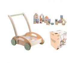Dřevěný vozíček s kostkami 12m+ Jouéco the Wildies Family