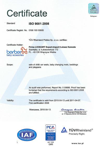 Certifikát TÜV - Berber