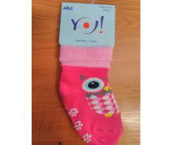 Froté ponožky s protiskluzem Yo Pink Owl