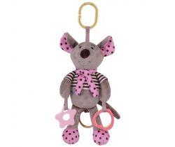 Hudební plyšová hračka BabyMix Myšička růžová