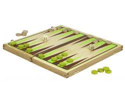Backgammon hra v dřevěném skládacím boxu Jeujura