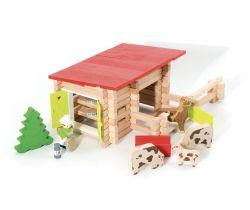 Dřevěná stavebnice 100 dílků Jeujura Country ranč