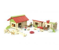 Dřevěná stavebnice 120 dílků Jeujura Farma