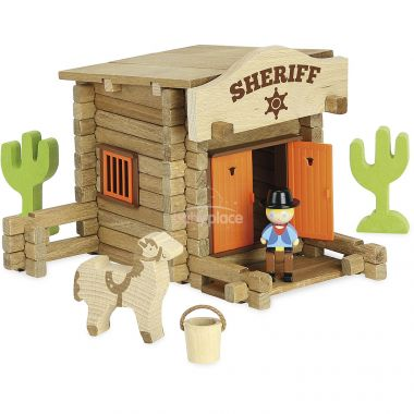 Dřevěná stavebnice Jeujura Sheriffská stanice 80 dílků